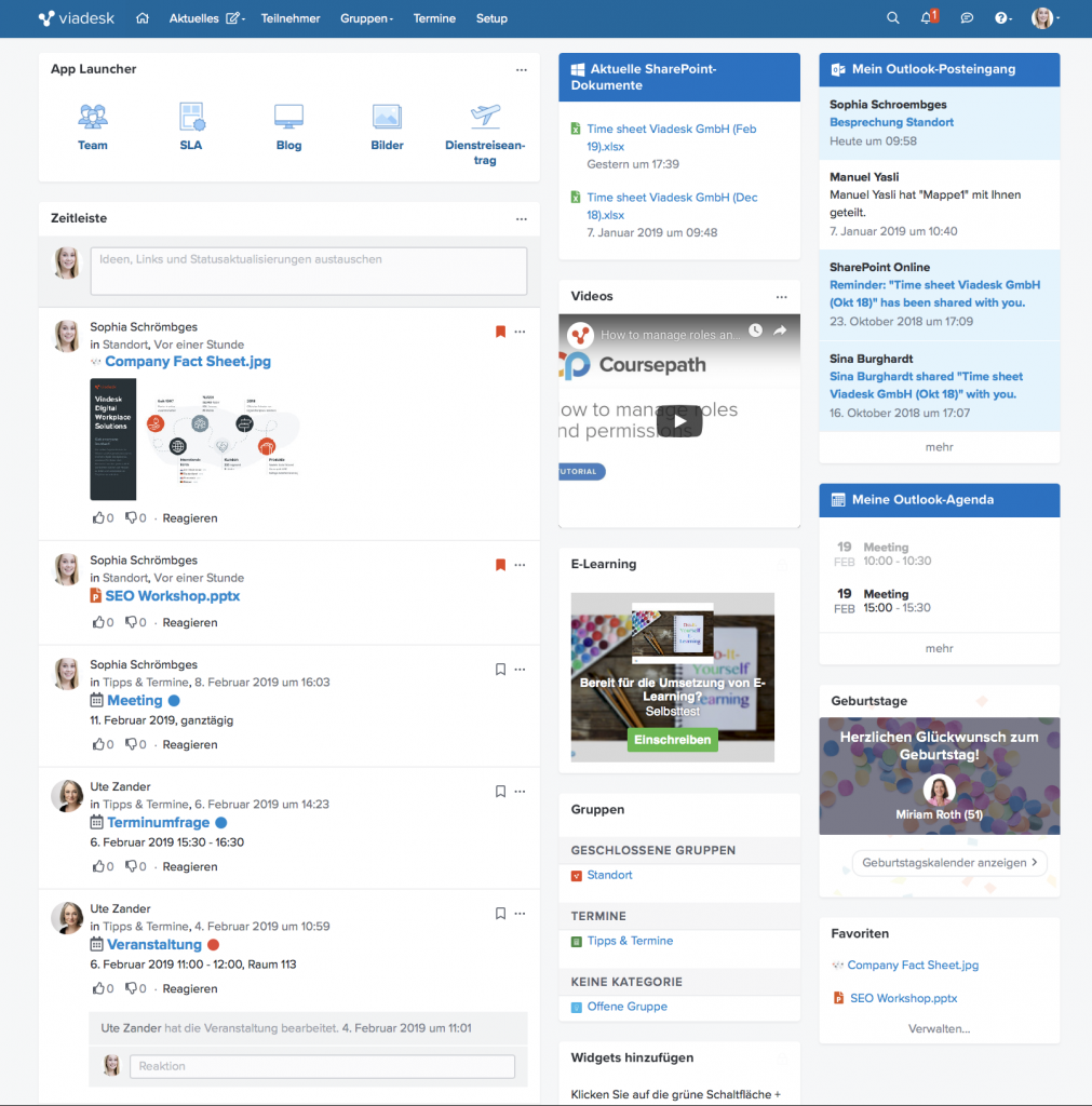 Viadesk Social Intranet Office 365 Integration