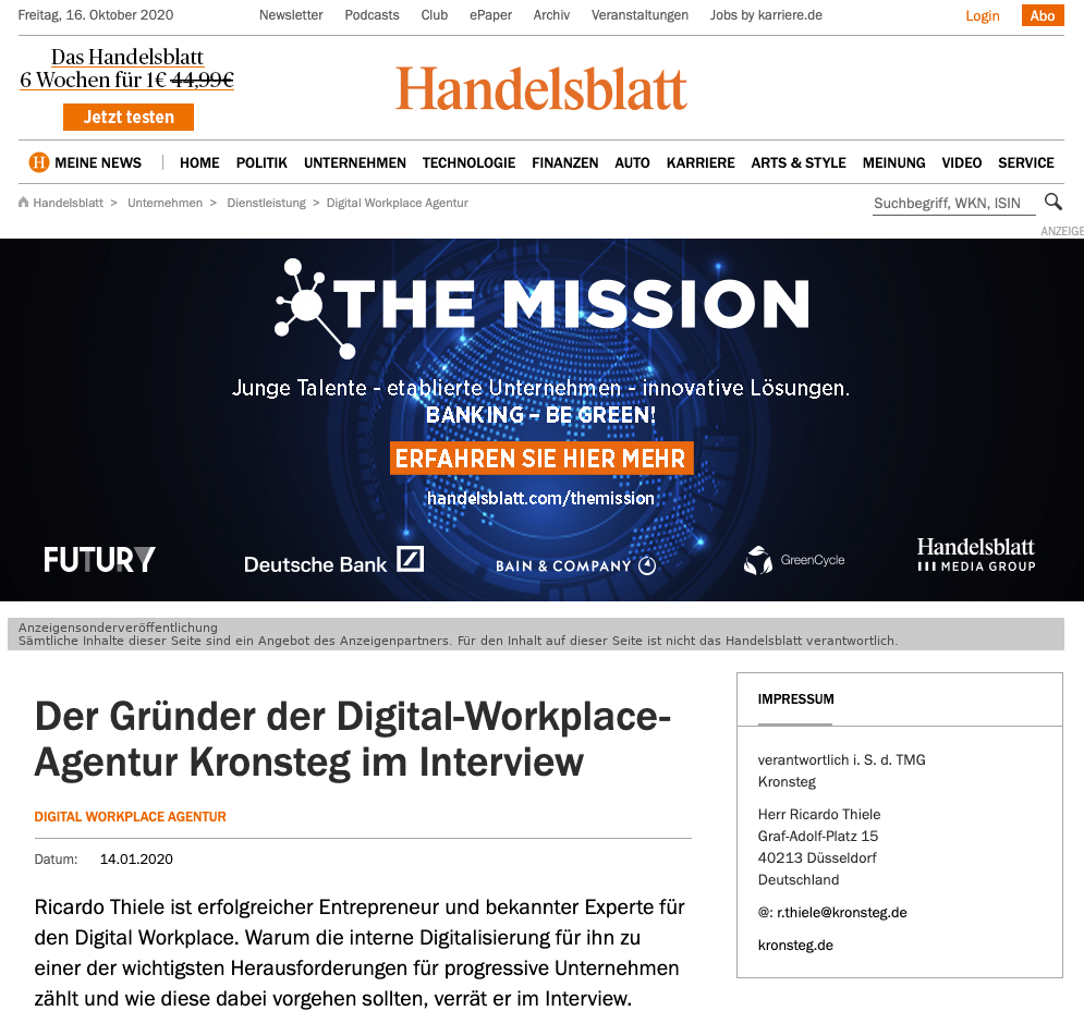 Handelsblatt Interview