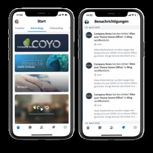 Eine eigene Startseite erstellen und Push-Benachrichtigungen auf einen Blick in der Coyo-App