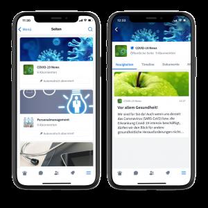 Alle abonnierten Seiten auf einen Blick und Neuigkeiten in der Coyo-App